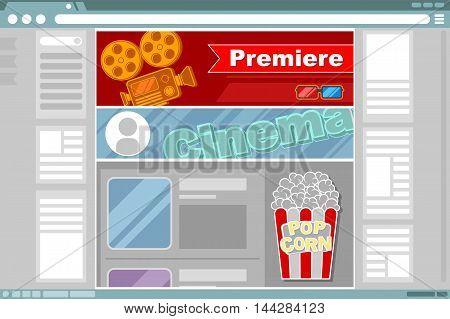 A vector illustration of cinema site interface design