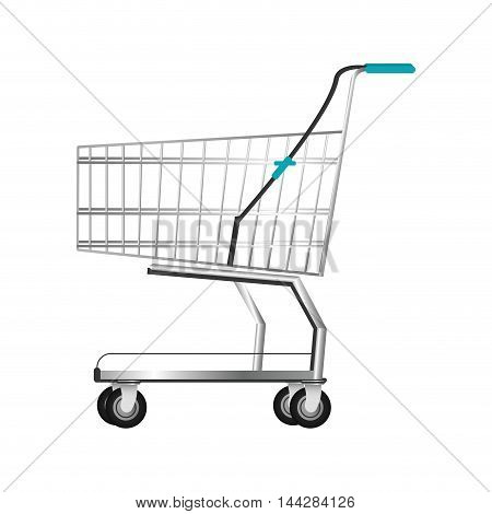 flat design realistic shopping cart icon vector illustration