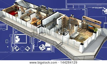 3D Rendering of an apartment interior on a blueprint