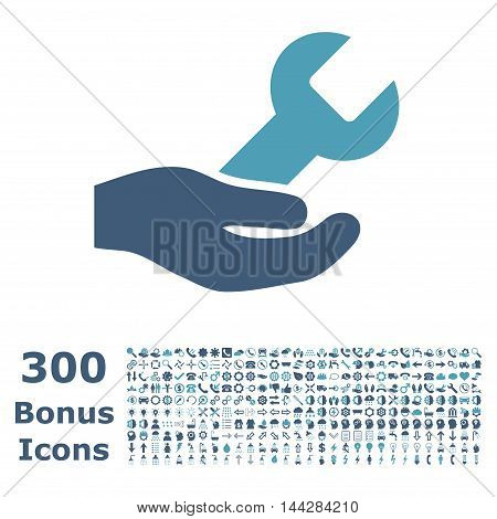Repair Service icon with 300 bonus icons. Vector illustration style is flat iconic bicolor symbols, cyan and blue colors, white background.