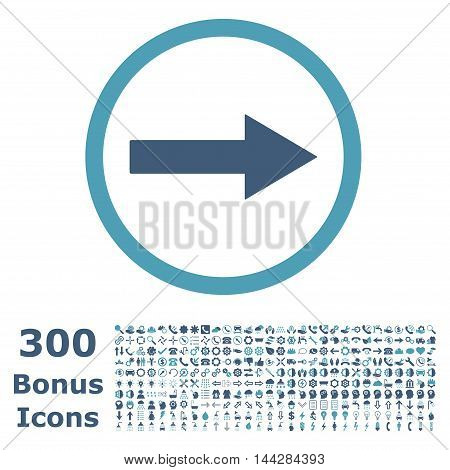 Right Rounded Arrow icon with 300 bonus icons. Vector illustration style is flat iconic bicolor symbols, cyan and blue colors, white background.