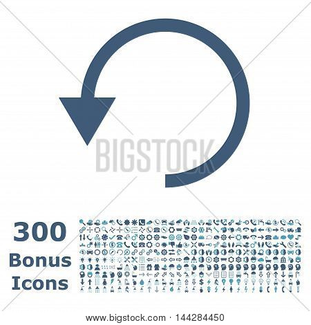 Rotate Ccw icon with 300 bonus icons. Vector illustration style is flat iconic bicolor symbols, cyan and blue colors, white background.