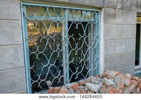 Broken Window On Old Derelict Abandoned Building