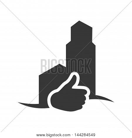 thumbs up factory industry ecology silhouette icon. Flat and Isolated design. Vector illustration