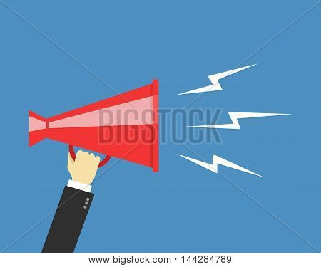 Human hand holding megaphone. Social media marketing concept