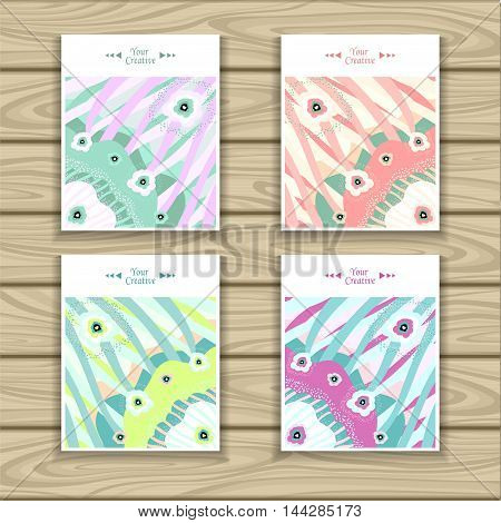 Set Trend Abstract backgrounds flowers ribbons in pastel colors for creative templates or flyers or cards