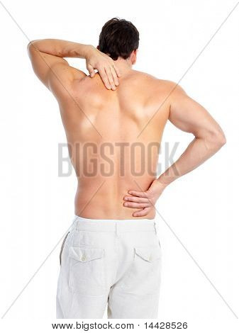 Sick young man. Back pain. Over white background