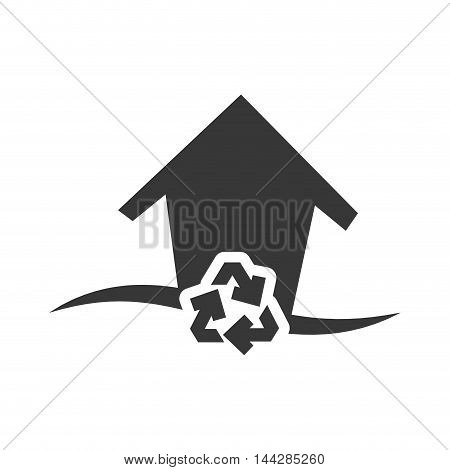 recycle house home ecology silhouette icon. Flat and Isolated design. Vector illustration