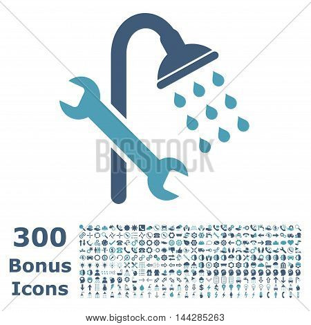 Shower Plumbing icon with 300 bonus icons. Vector illustration style is flat iconic bicolor symbols, cyan and blue colors, white background.