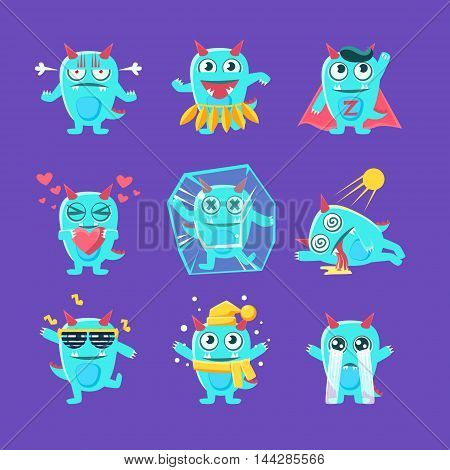 Blue Dragon Character Activities. Set Of Silly Childish Drawings Isolated On Blue Background. Funny Fantastic Animal Colorful Vector Stickers Set.