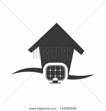 solar panel house home ecology silhouette icon. Flat and Isolated design. Vector illustration