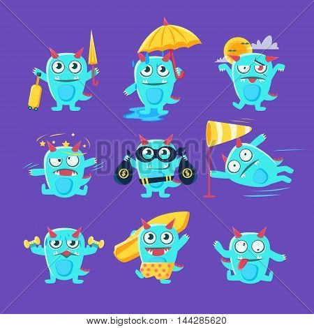 Blue Dinosaur In Different Situations. Set Of Silly Childish Drawings Isolated On Blue Background. Funny Fantastic Animal Colorful Vector Stickers Set.