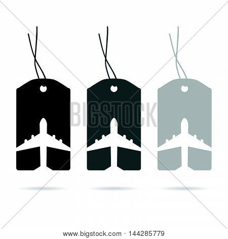 Tag Travel With Airplane Set In White And Black Illustration