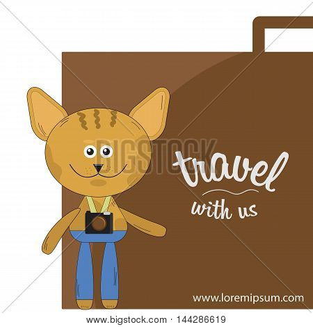 cartoon cat symbol for TRAVEL agencies and firms