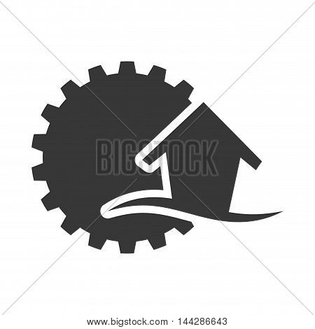 gear house home ecology silhouette icon. Flat and Isolated design. Vector illustration