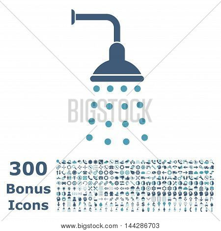 Shower icon with 300 bonus icons. Vector illustration style is flat iconic bicolor symbols, cyan and blue colors, white background.