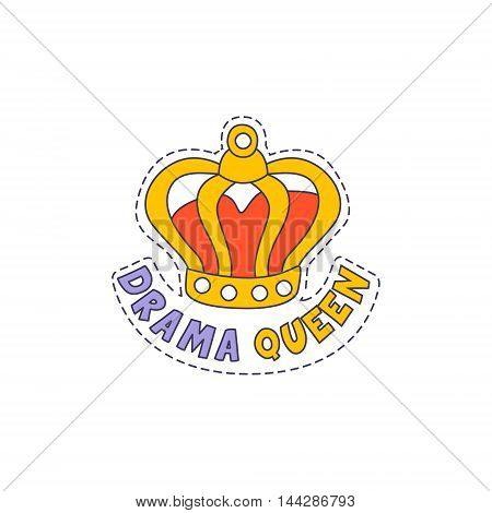 Drama Queen Crown Bright Hipster Sticker With Outlined Border In Childish Style