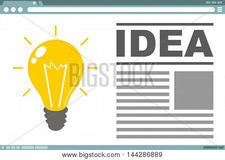 A vector illustration of interface design with light bulb idea