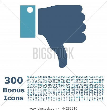Thumb Down icon with 300 bonus icons. Vector illustration style is flat iconic bicolor symbols, cyan and blue colors, white background.