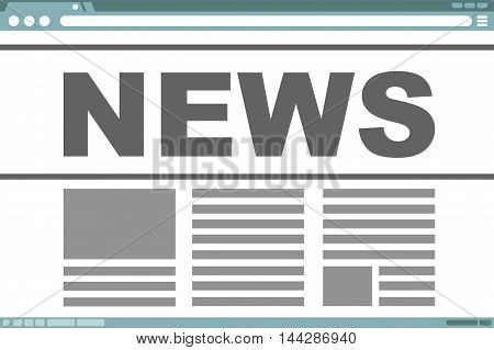 A vector illustration of interface frame design with news text