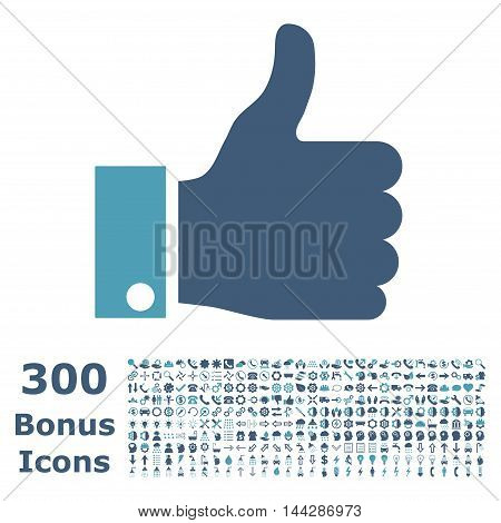 Thumb Up icon with 300 bonus icons. Vector illustration style is flat iconic bicolor symbols, cyan and blue colors, white background.