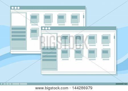 A vector illustration of vector interface frames window illustration design