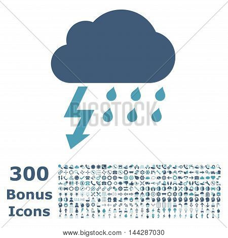 Thunderstorm icon with 300 bonus icons. Vector illustration style is flat iconic bicolor symbols, cyan and blue colors, white background.