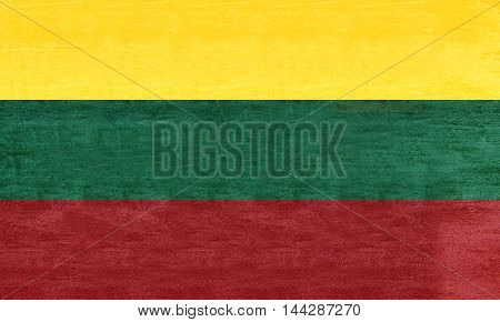 Illustration of the flag of Lithuania with a grunge texture