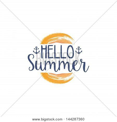 Hello Summer Message Watercolor Stylized Label. Bright Color Summer Vacation Hand Drawn Promo Sign. Touristic Agency Vector Ad Template.