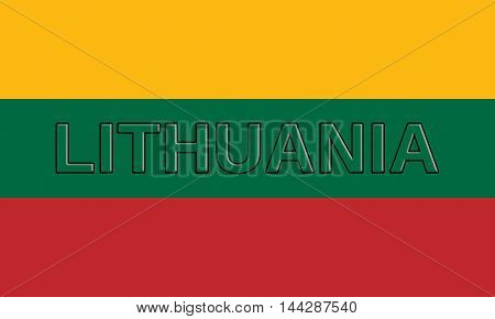 Illustration of the flag of Lithuania with the country written on the flag