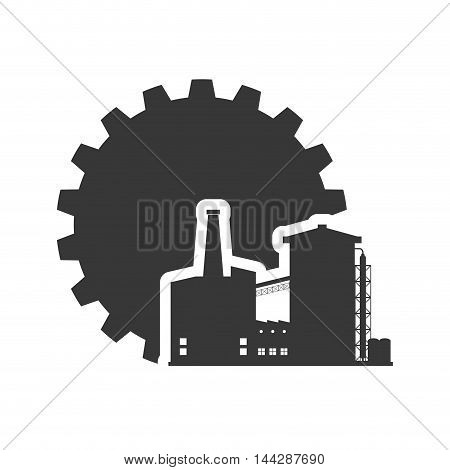gear factory industry plant building silhouette icon. Flat and Isolated design. Vector illustration