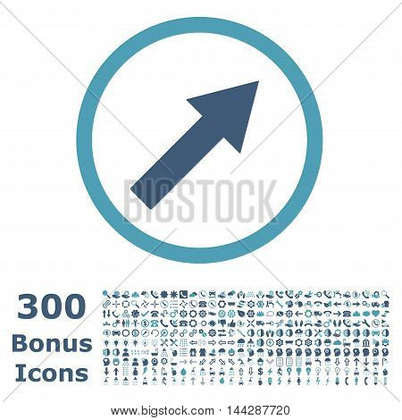 Up-Right Rounded Arrow icon with 300 bonus icons. Vector illustration style is flat iconic bicolor symbols, cyan and blue colors, white background.