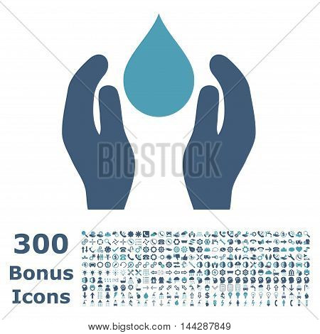 Water Care icon with 300 bonus icons. Vector illustration style is flat iconic bicolor symbols, cyan and blue colors, white background.