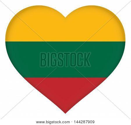 Illustration of the flag of Lithuania shaped like a heart.