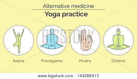 Set Of Vector Yoga Icons In Linear Style. Yoga Practice As A Type Of Alternative Medicine. Asana, Pr