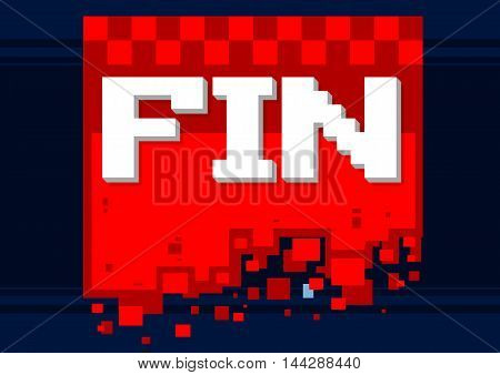 A vector illustration of pixel art fin icon on red background