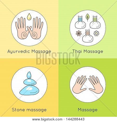 Set Of Vector Linear Icons With Types Of Massage. Ayurvedic Massage Illustration. Logo For Thai Mass