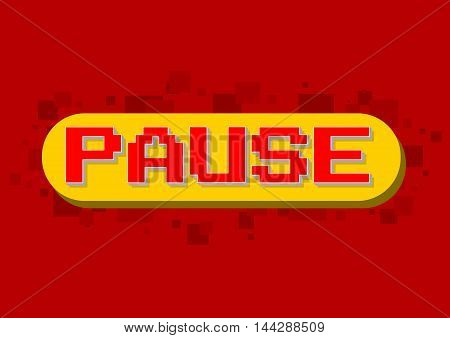 A vector illustration of pixel computer game pause screen on red background