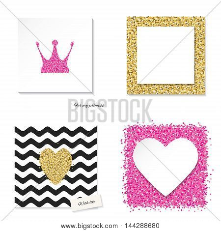 Cards set with glitter pink and golden elements - hearts crown princess. Girly glamour style.