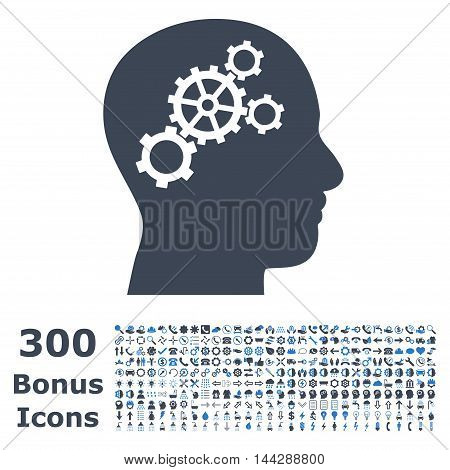 Brain Gears icon with 300 bonus icons. Vector illustration style is flat iconic bicolor symbols, smooth blue colors, white background.