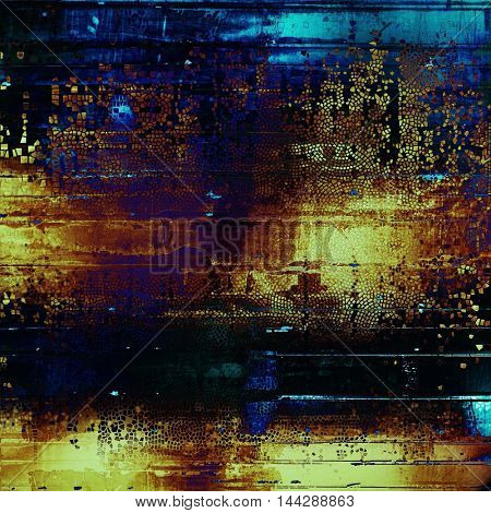 Shabby texture or background with classy vintage elements. Grunge backdrop with different color patterns: blue; purple (violet); yellow (beige); brown; black; cyan