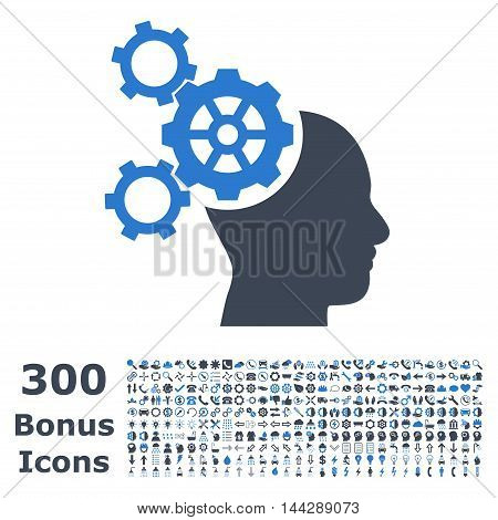 Brain Mechanics icon with 300 bonus icons. Vector illustration style is flat iconic bicolor symbols, smooth blue colors, white background.