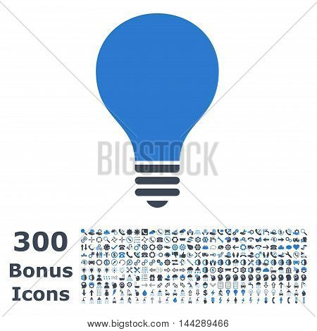 Bulb icon with 300 bonus icons. Vector illustration style is flat iconic bicolor symbols, smooth blue colors, white background.