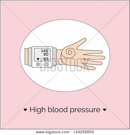 Vector illustration with hand and tonometer. Screen of automatic sphygmomanometer with indicators of low blood pressure and heart rate.