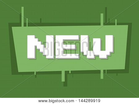 A vector illustration of pixel white text new on green background illustration