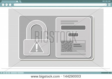 A vector illustration of window frame design with lock icon and QR code