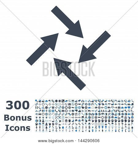 Centripetal Arrows icon with 300 bonus icons. Vector illustration style is flat iconic bicolor symbols, smooth blue colors, white background.