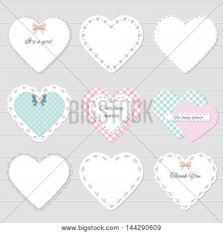 Cute lacy textile hearts set. Can be used for scrapbook valentines baby shower design.