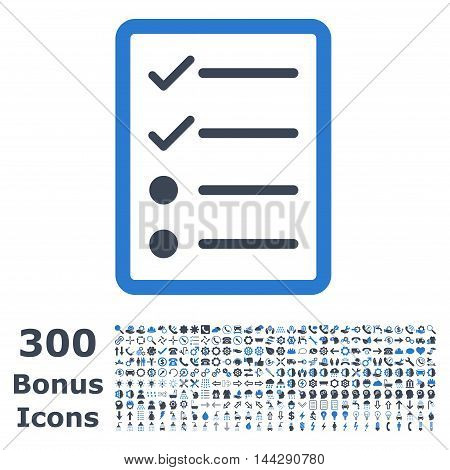 Checklist Page icon with 300 bonus icons. Vector illustration style is flat iconic bicolor symbols, smooth blue colors, white background.