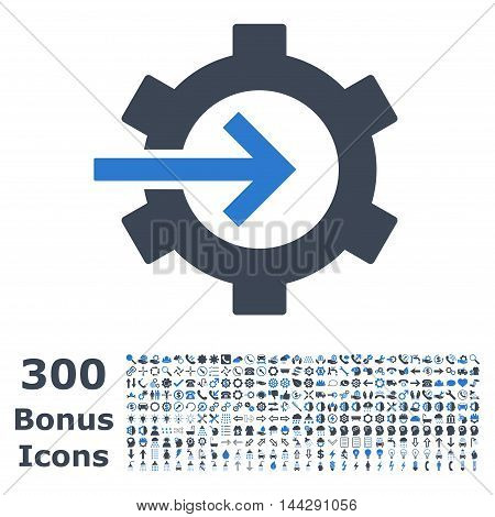 Cog Integration icon with 300 bonus icons. Vector illustration style is flat iconic bicolor symbols, smooth blue colors, white background.
